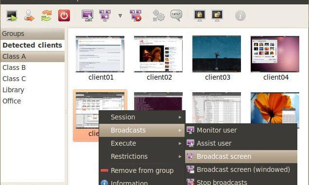 Edubuntu, distribuzione Linux per l'insegnamento con programma per controllare i pc della classe