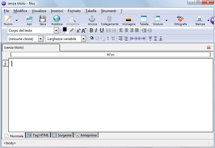 nvu Nvu, programma open source per creare pagine web
