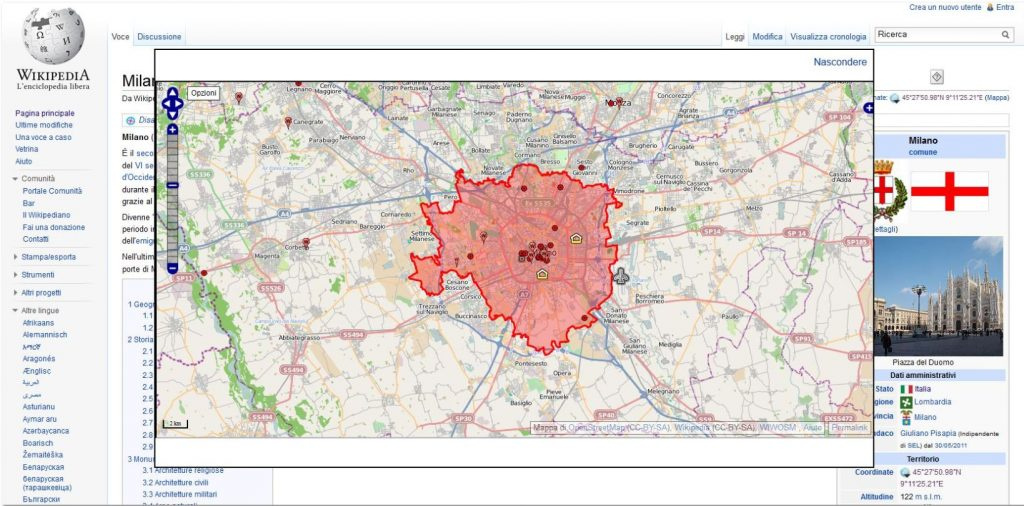 Mappa-OpenStreetMap-in-Wikipedia-1024x506 Wikipedia & OpenStreetMap: Le mappe del progetto OpenStreetMap visibili anche sulle pagine in italiano dell'enciclopedia libera e gratuita