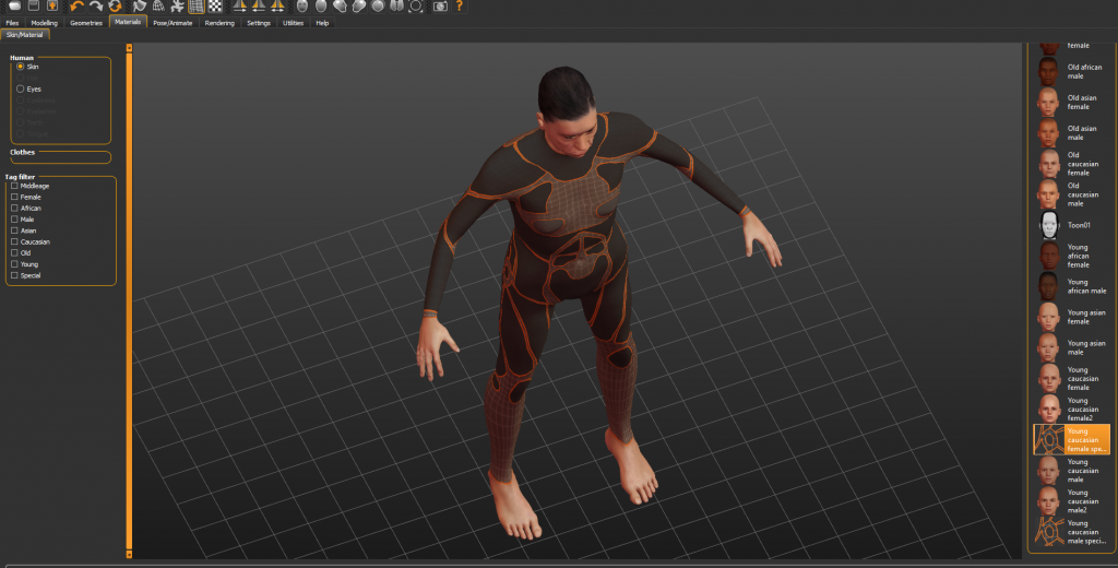 Umanoide_Make_Humand-1024x520 MakeHuman: Disegno e rendering 3D di un umanoide - programmi per la creazione 3D di modelli umani