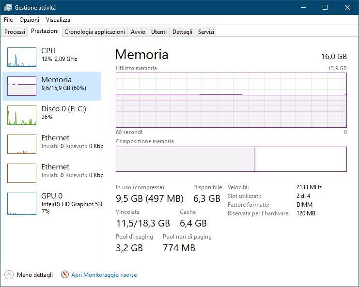 Memoria Come si vede la memoria RAM di un PC con sistema operativo Microsoft Windows 10